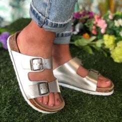 Lazy Dogz Ladies Roco Silver Double Strap and Buckle Slider