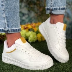 D.T New York Ladies White and Yellow Chunky Trainers