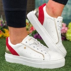 Amy Huberman Cousins Carnation Sheet White and Red Trainers