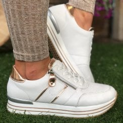 Remonte Ladies White and Rose Gold Side Zip Trainers