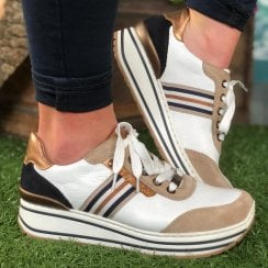 Ara Ladies Sapporo White and Brown Wedged Trainer