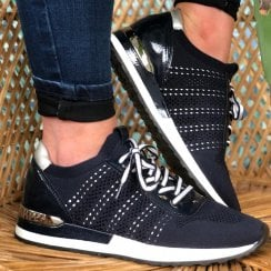 Remonte Ladies Navy Knitted Style Trainers
