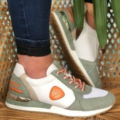 Remonte Ladies R2527 White and Green Panel Trainers