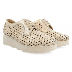 Pitillos Ladies Marley Cream Perforated Design Shoe