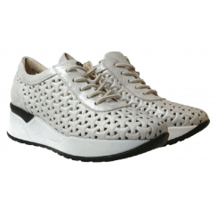Pitillos Ladies Marley Silver Perforated Trainers