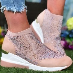 Menbur 22456 Pink Crystal Sock Wedge Trainer