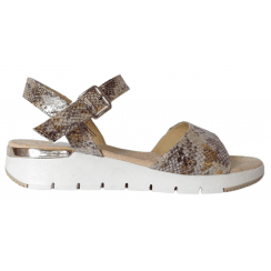 Sprox Ladies Grey Metallic Reptile Print Sandal