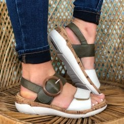 Remonte Ladies Forest Green and White Strap Sandals
