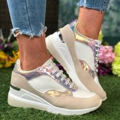 Menbur 21620 White and Metalic Wedge Trainer