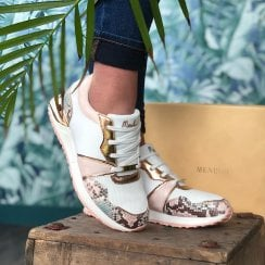 Menbur White and Pastel Snake Print Trainers