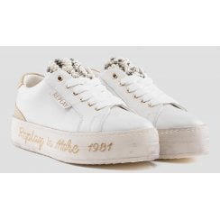 Replay Virden Ladies White and Gold Pearl Trainers