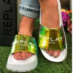 Replay Ladies Parker Gold Holographic Sliders