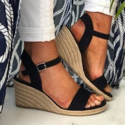Tamaris Ladies Navy Wedged Heel Sandal