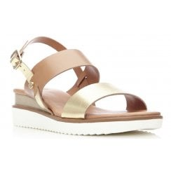 Moda In Pelle Ladies Navasi Tan and Gold Sandal