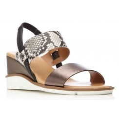 Moda In Pelle Ladies Nevari Pewter Snake Print Sandal