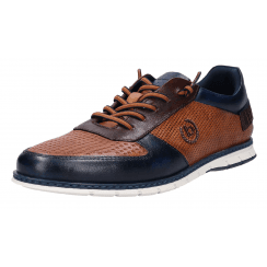 Bugatti Mens Silvan Cognac and Navy Elasticated Lace Shoe