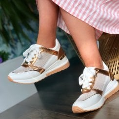 Menbur White and Rose Gold Wedge Trainer